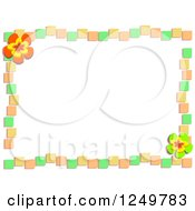 Green Orange And Yellow Tile And Flower Border