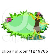 Clipart Of A Girl And Leafy Oval Royalty Free Vector Illustration by bpearth