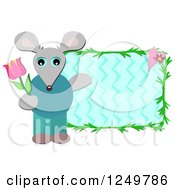 Mouse Holding A Tulip And Presenting A Zig Zag Frame