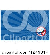 Clipart Of A Bald Eagle American Flag And Ray Business Card Design Royalty Free Illustration