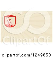 Clipart Of A Woodcut Hammering Blacksmith And Ray Business Card Design Royalty Free Illustration