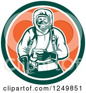 Clipart Of A Retro Woodcut Hazchem Worker In A Circle Royalty Free Vector Illustration