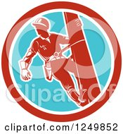 Clipart Of A Retro Lineman Worker In A Blue And Red Circle Royalty Free Vector Illustration by patrimonio