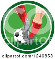 Clipart Of A Soccer Players Legs In A Green Circle Royalty Free Vector Illustration by patrimonio