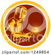 Clipart Of A Retro Woodcut Welder With A Torch In A Maroon And Yellow Circle Royalty Free Vector Illustration