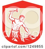 Clipart Of A Retro Woodcut Male Blacksmith Man Hammering In A Shield Royalty Free Vector Illustration