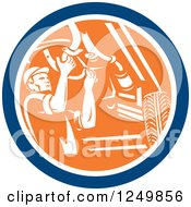 Clipart Of A Retro Male Car Mechanic Working Under An Automobile In A Circle Royalty Free Vector Illustration