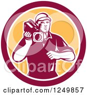 Clipart Of A Retro Woodcut Cameraman In A Yellow And Maroon Circle Royalty Free Vector Illustration