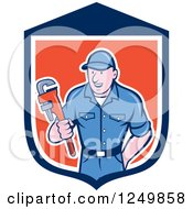 Clipart Of A Cartoon Male Plumber Holding A Monkey Wrench In A Shield Royalty Free Vector Illustration