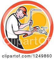 Clipart Of A Cartoon Male Plumber Working On Pipes In A Circle Royalty Free Vector Illustration