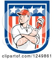 Clipart Of A Cartoon Male Plumber Holding A Monkey Wrench In An American Shield Royalty Free Vector Illustration