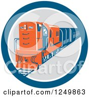Retro Blue And Orange Diesel Train In A Circle