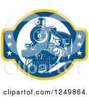 Clipart Of A Retro Blue Steam Train With Stars Royalty Free Vector Illustration by patrimonio