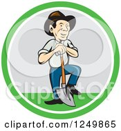 Clipart Of A Cartoon Farmer Man With A Shovel In A Circle Royalty Free Vector Illustration