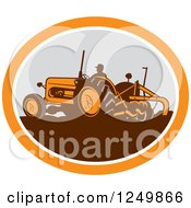 Retro Farmer Operating A Plowing Tractor In An Orange And Gray Oval