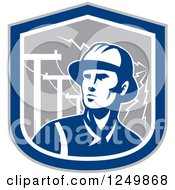 Clipart Of A Retro Blue Power Lineman In A Shield With Bolts Royalty Free Vector Illustration