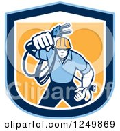 Clipart Of A Retro Male Electrician With A Cord In A Blue And Orange Shield Royalty Free Vector Illustration