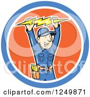 Clipart Of A Cartoon Male Electrician Holding Up A Bolt In A Circle Royalty Free Vector Illustration