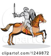 Clipart Of A Horseback Armoured Knight Wielding A Sword Royalty Free Vector Illustration