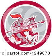 Clipart Of A Horseback Armoured Knight With A Lance In A Circle Royalty Free Vector Illustration