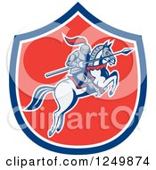 Clipart Of A Horseback Armoured Knight With A Lance In A Shield Royalty Free Vector Illustration by patrimonio