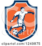 Clipart Of A Retro Soccer Player In A Blue And Orange Shield Royalty Free Vector Illustration by patrimonio