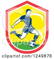Clipart Of A Retro Soccer Player Kicking In A Red And Yellow Shield Royalty Free Vector Illustration by patrimonio