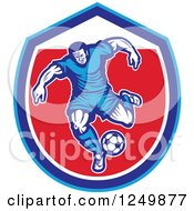 Clipart Of A Retro Soccer Player In A Blue And Red Shield Royalty Free Vector Illustration by patrimonio
