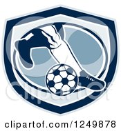 Clipart Of Legs Of A Retro Soccer Player Kicking In A Blue Shield Royalty Free Vector Illustration by patrimonio