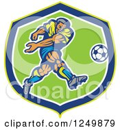 Clipart Of A Retro Soccer Player Kicking In A Blue And Green Shield Royalty Free Vector Illustration by patrimonio