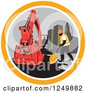 Construction Worker And Digger Machine In A Circle