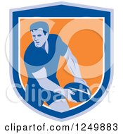 Clipart Of A Retro Rugby Player In A Blue And Orange Shield Royalty Free Vector Illustration