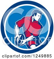 Clipart Of A Retro Rugby Player In A Blue Circle Royalty Free Vector Illustration