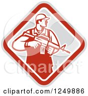 Clipart Of A Retro Male Soldier Holding A Rifle In A Diamond Royalty Free Vector Illustration
