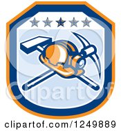 Clipart Of A Retro Mining Helmet And Tools In A Blue And Orange Shield Royalty Free Vector Illustration