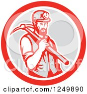 Clipart Of A Retro Woodcut Male Miner With A Pickaxe In A Gray And Red Circle Royalty Free Vector Illustration