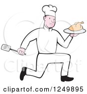 Clipart Of A Cartoon Male Chef Running With A Roasted Chicken Royalty Free Vector Illustration