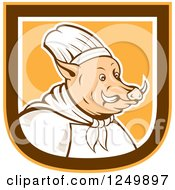 Clipart Of A Boar Chef In A Brown White And Orange Shield Royalty Free Vector Illustration