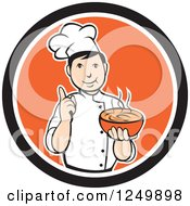 Clipart Of A Cartoon Male Chef Holding A Bowl Of Hot Soup In A Black And Orange Circle Royalty Free Vector Illustration