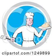 Clipart Of A Cartoon Male Chef Holding A Roasted Chicken In A Blue And Gray Circle Royalty Free Vector Illustration