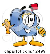 Blue Postal Mailbox Cartoon Character Looking Through A Magnifying Glass