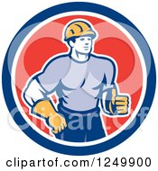 Retro Male Construction Worker Holding A Thumb Up In A Circle