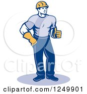 Retro Male Construction Worker Holding A Thumb Up