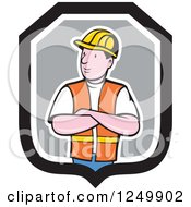 Cartoon Male Construction Worker With Folded Arms In A Shield