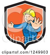 Clipart Of A Cartoon Male Road Construction Worker Directing Traffic In A Shield Royalty Free Vector Illustration