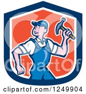 Poster, Art Print Of Cartoon Handyman With A Hammer In A Shield