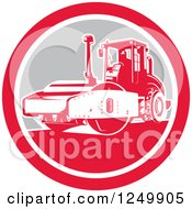 Clipart Of A Retro Road Compactor Machine In A Circle Royalty Free Vector Illustration by patrimonio