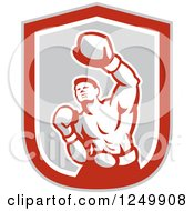 Clipart Of A Retro Male Boxer Punching In A Gray And Red Shield Royalty Free Vector Illustration