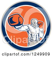 Clipart Of A Retro Male Boxer Punching In A Blue And Orange Circle Royalty Free Vector Illustration