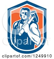 Clipart Of A Retro Male Blacksmith Man With A Sledgehammer In An Orange And Blue Shield Royalty Free Vector Illustration
